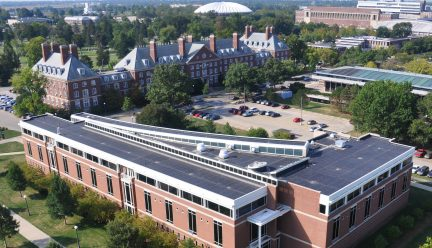 Overhead view of Temple Buell Hall
