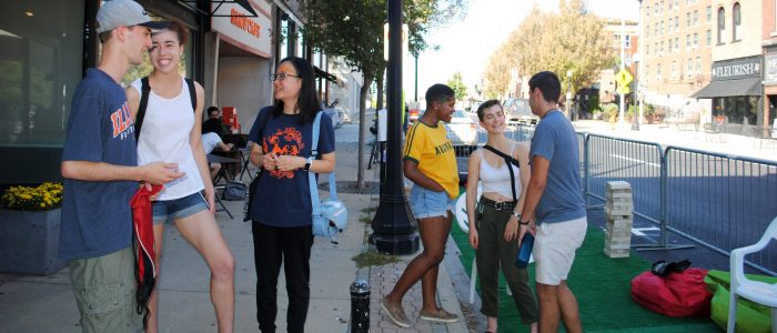 Students on Green Street for annual Parking Day event