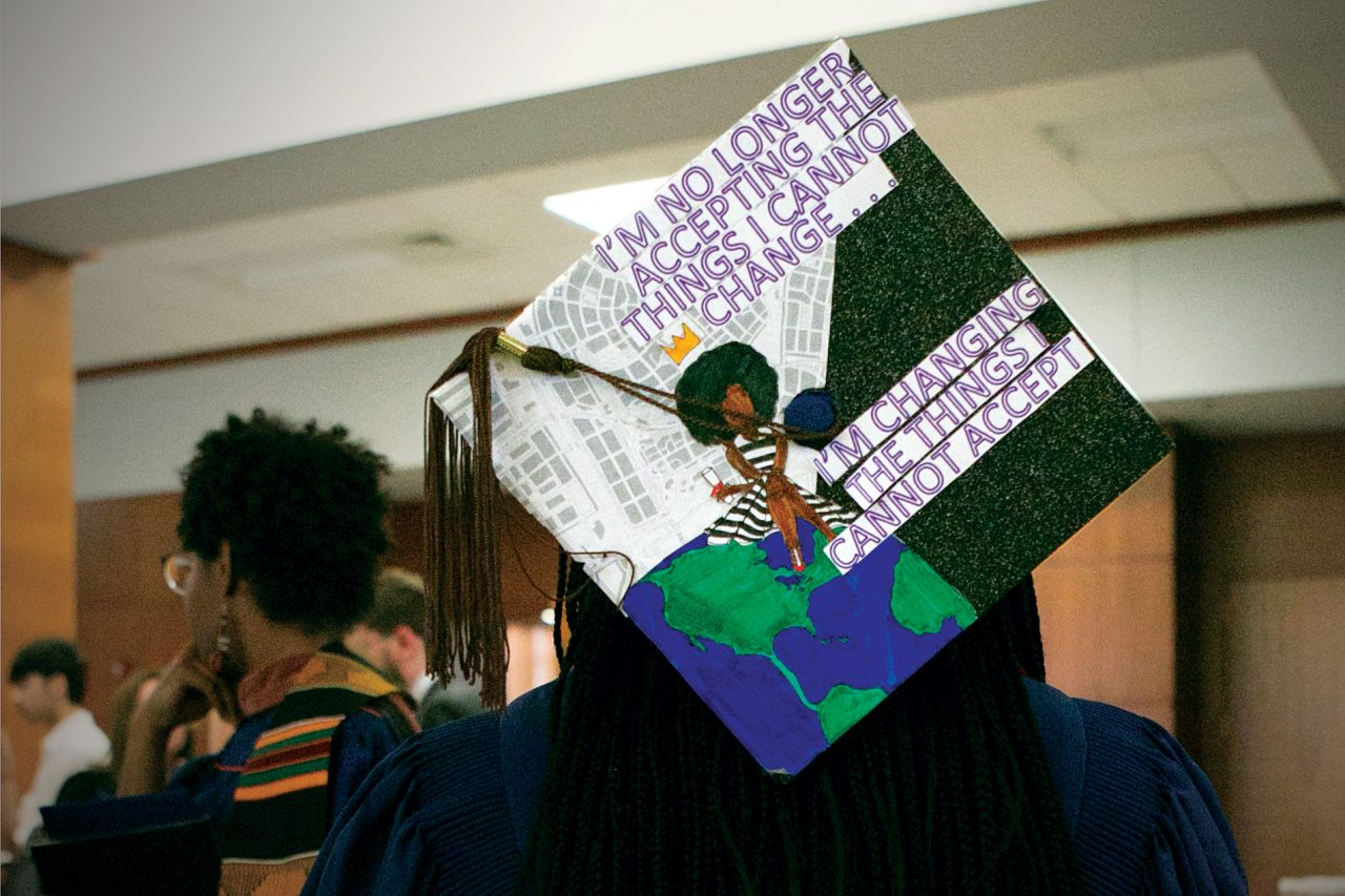 graduate's cap decorated with text