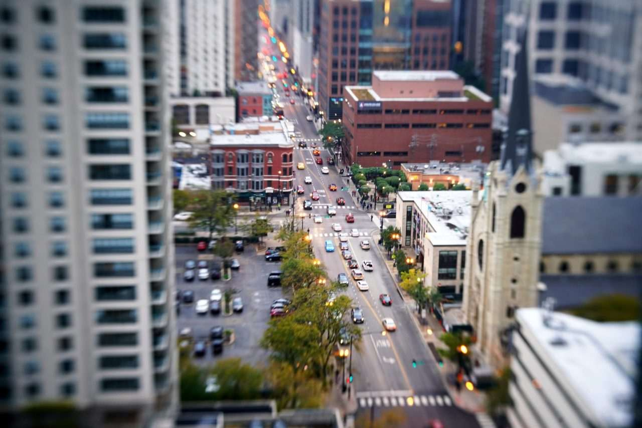 Chicago street from high rise balcony