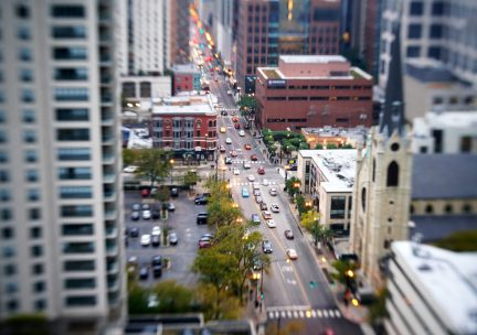 Chicago street from a high rise balcony