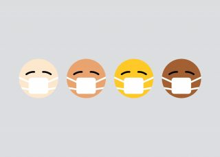 Emojis of different skin colors with masks on
