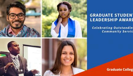 Four students who were honored for Graduate Student Leadership Award