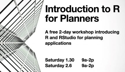 Introduction to R for Planners with building image and details of workshop