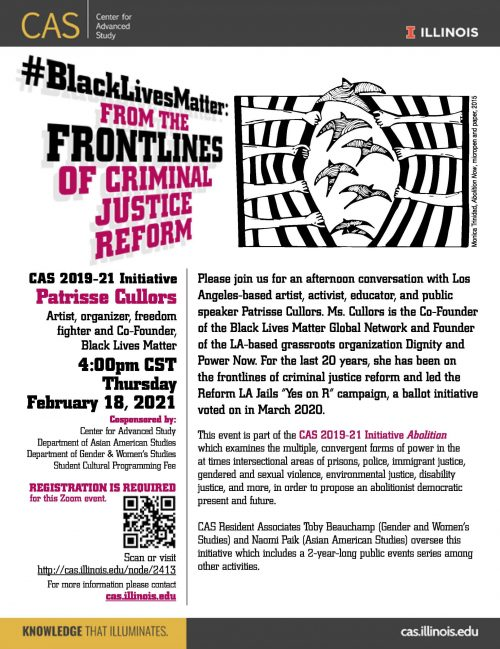 CAS poster in black, pink and white