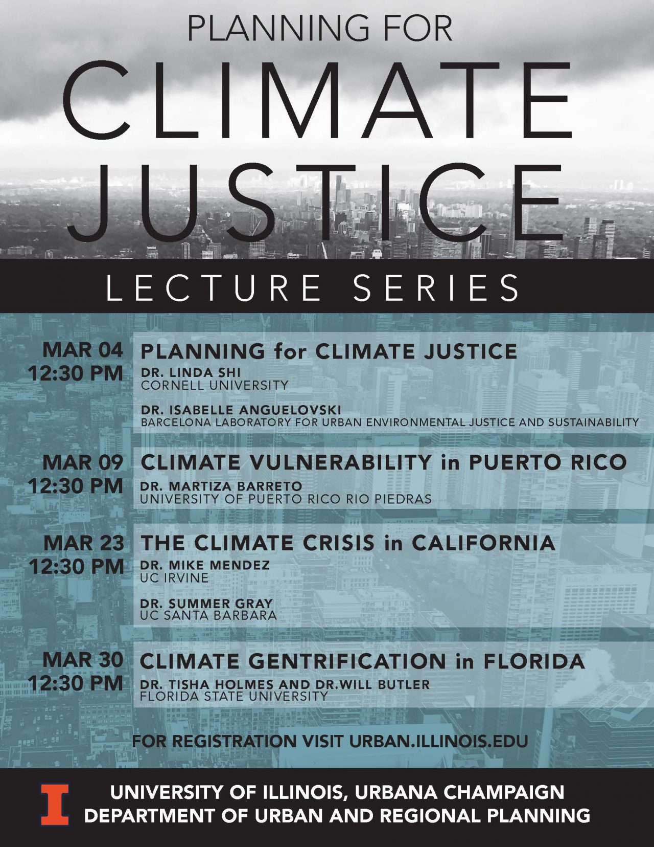 Flier for Planning for Climate Justice Lecture Series