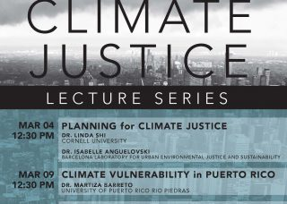 Blue and gray poster announcing Planning for Climate Justice Lecture Series