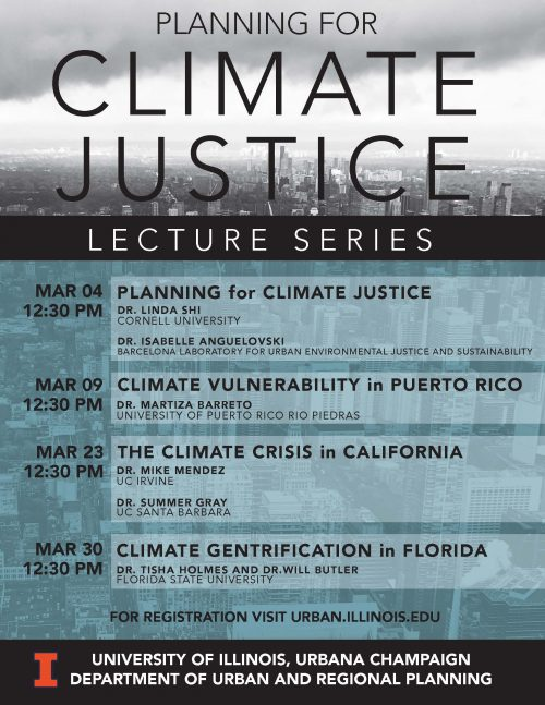 Gray and blue poster announcing Planning for Climate Justice lecture series