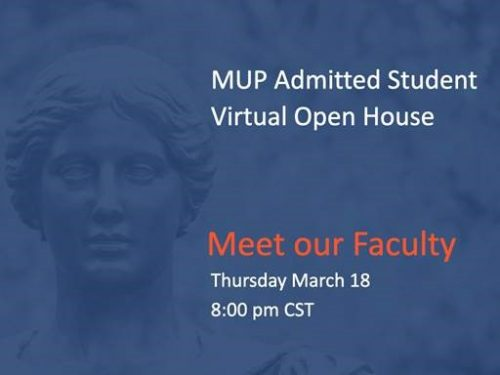 Blue, orange and white poster with picture of Alma Mater statue