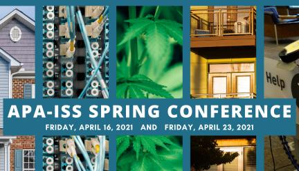 Blue flier announcing APA-ISS Spring Conference