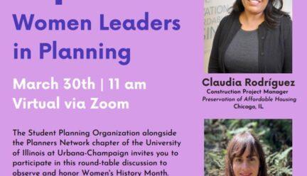 Purple flier with photos of three panelists