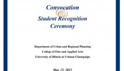 Blue, white and orange poster for convocation ceremony