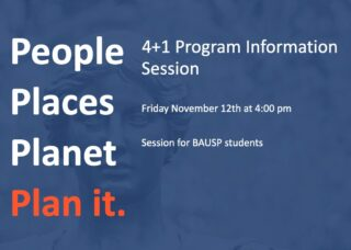 Blue and orange flyer with information session information