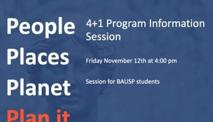 Blue and orange flyer listing 4+1 Program Information Session information