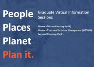 Blue and orange flyer listing DURP graduate programs