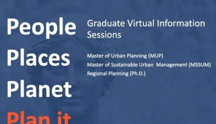 Blue and orange flyer listing graduate programs
