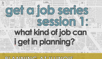 Flier for Get a Job Series Session 1 with a black and white map in the background