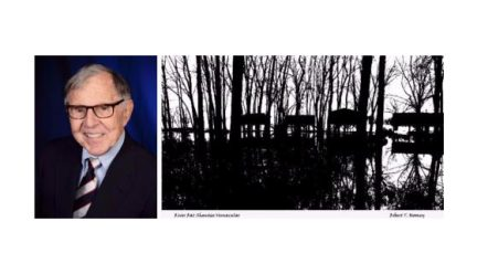 head shot of Robert Thaddeus Mooney and his photo of trees along the Mississippi River