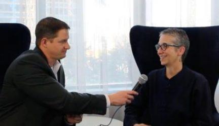 Lynne Dearborn being interviewed by Nick Serfass