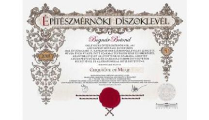 honorary gold diploma in architecture from Budapest University of Technologies and Economics