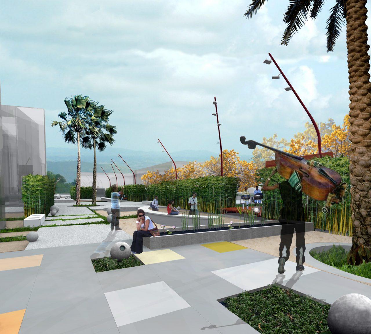 collage of sidewalk design proposal in trinidad