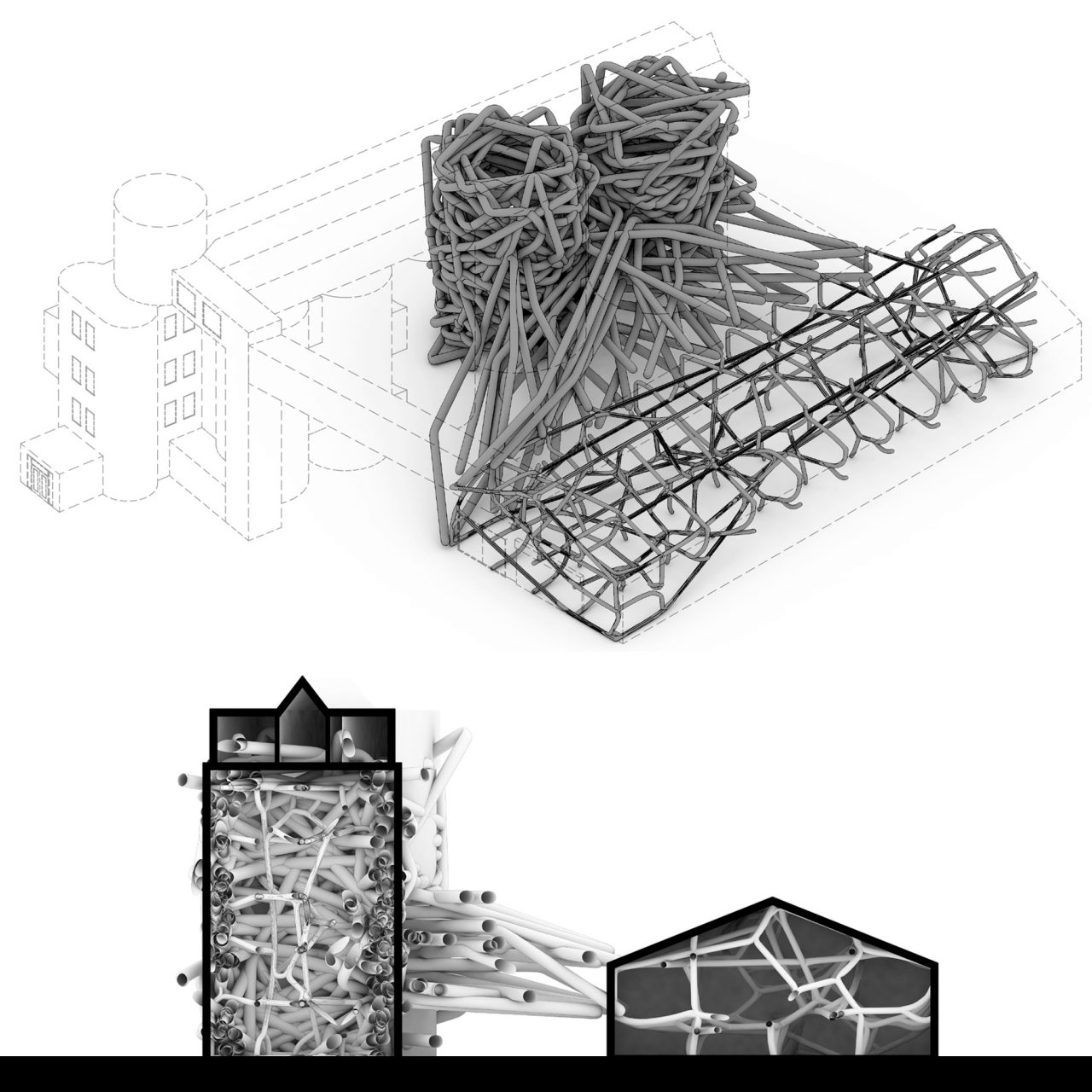 axonometric and sections drawings with thread-like structures rendered