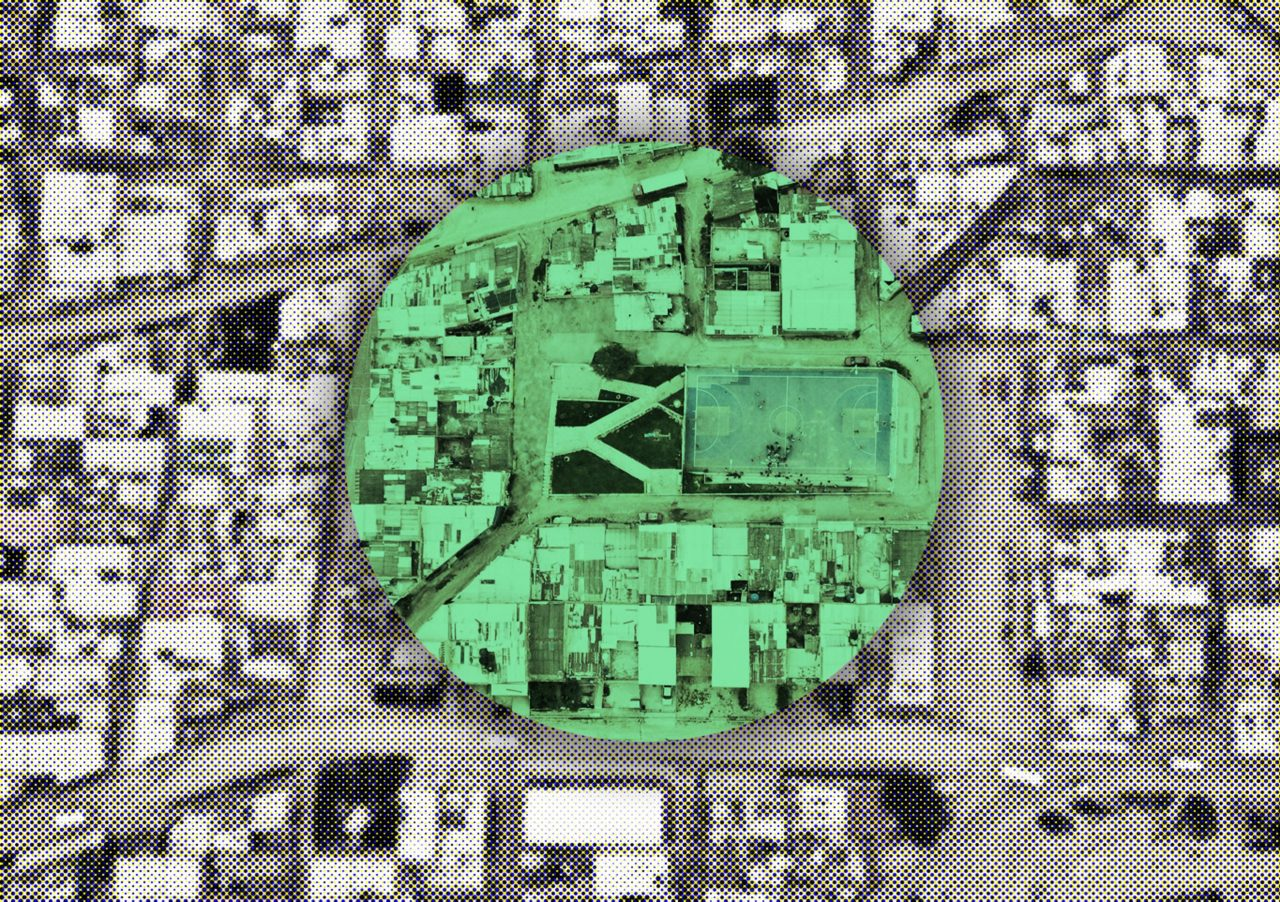 Aerial satellite image with green circle highlighting park site