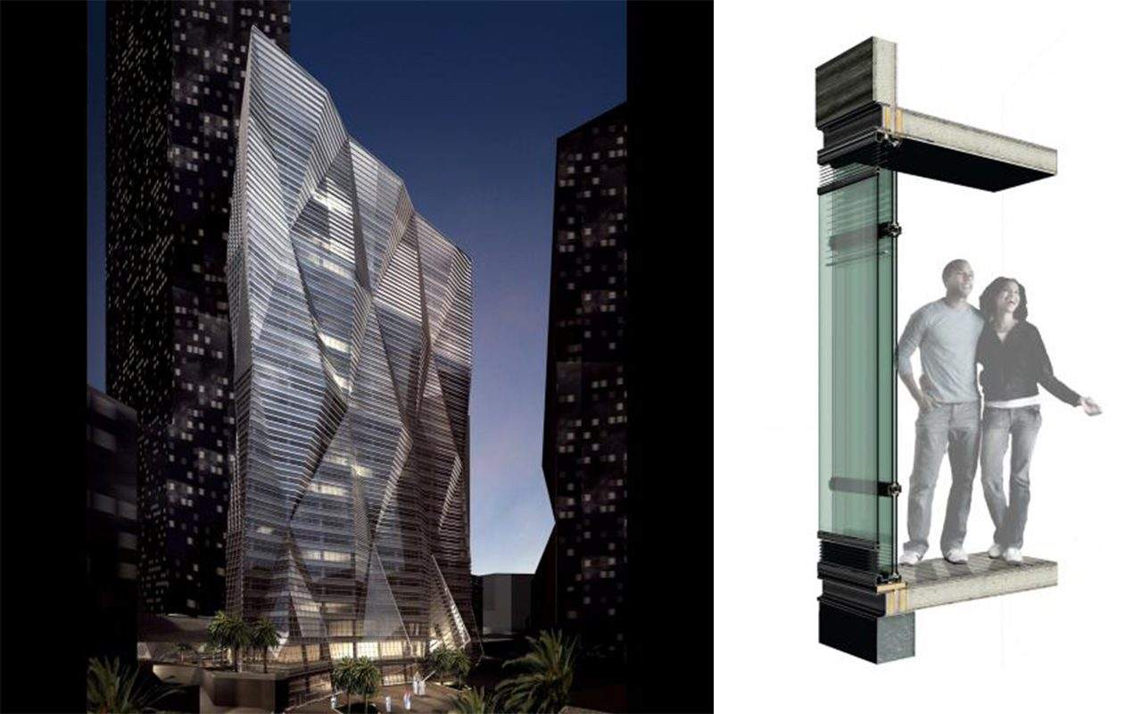 Rendering (left) and facade detail (right)