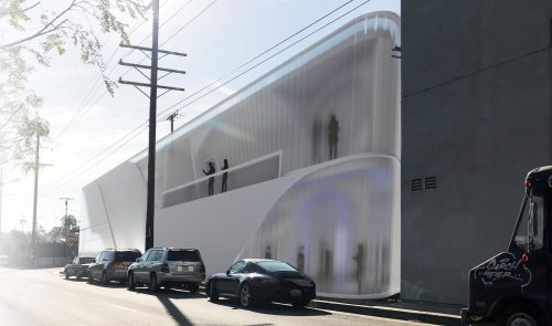 exterior rendering of two-story concrete and glass building
