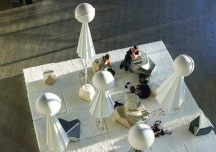 Students occupying a seating installation