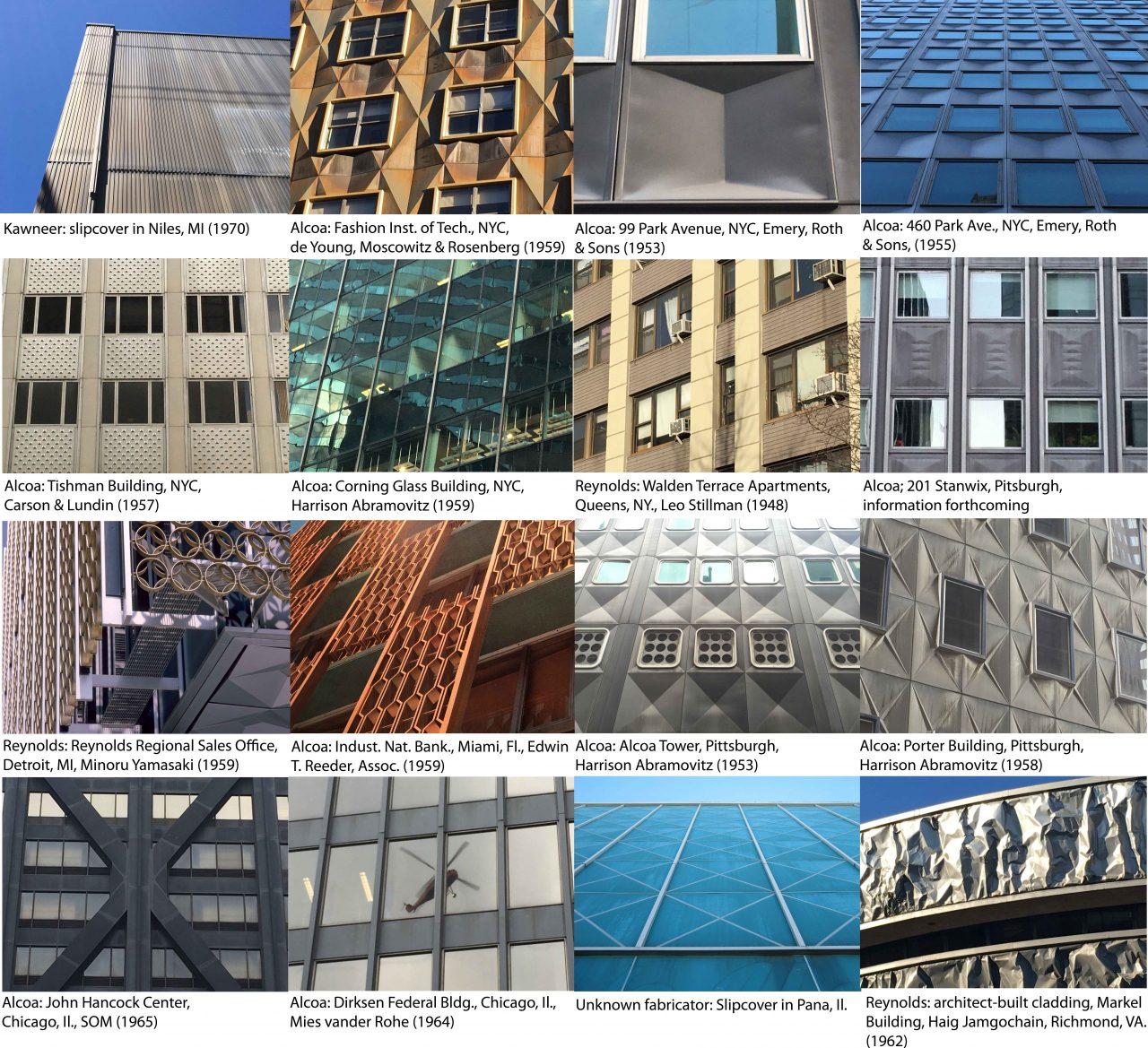 Grid of images of aluminum cladding