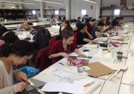 Students working in the Barcelona studio space
