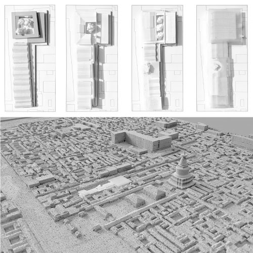 top views of models and urban scale model perspective