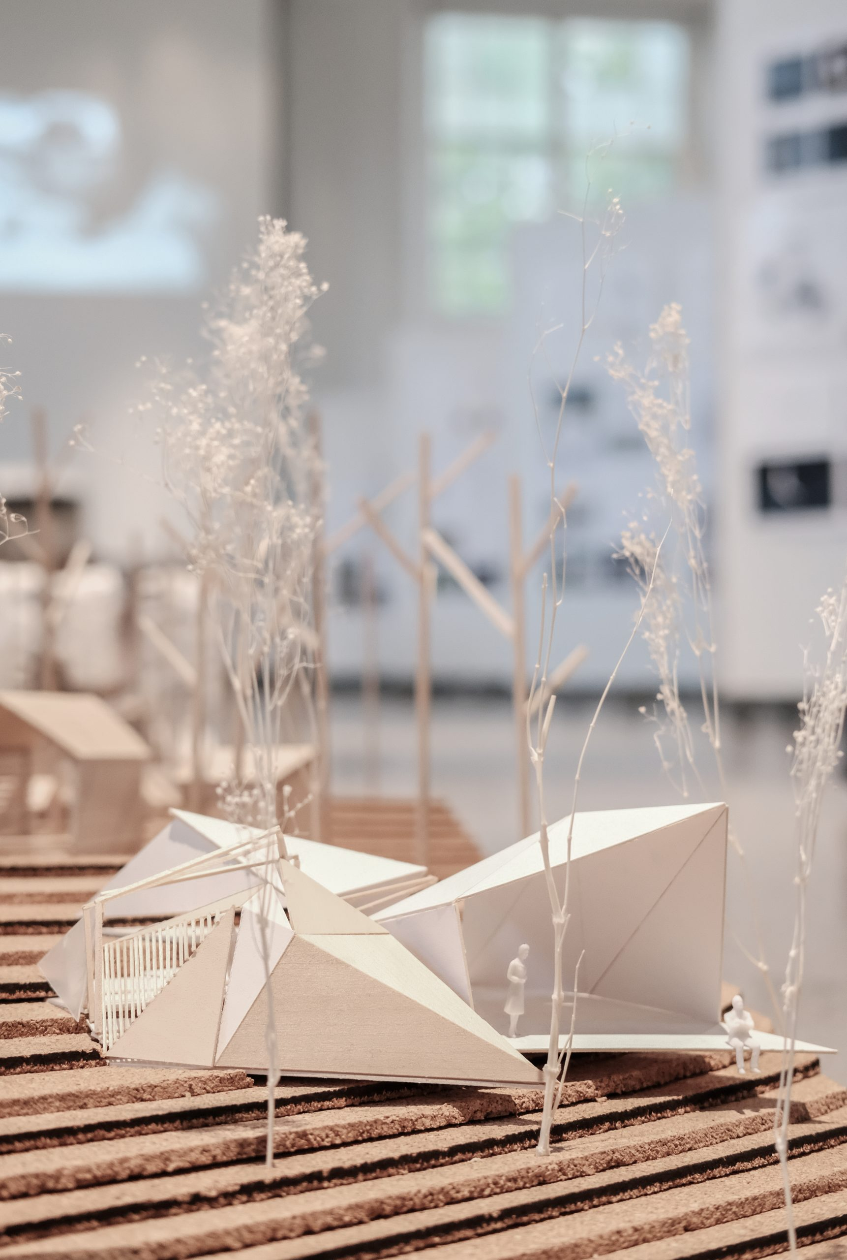 closeup view of final model in Temple Buell Architecture Gallery