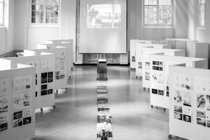 moveable boards arranged for final review in Temple Buell Architecture Gallery