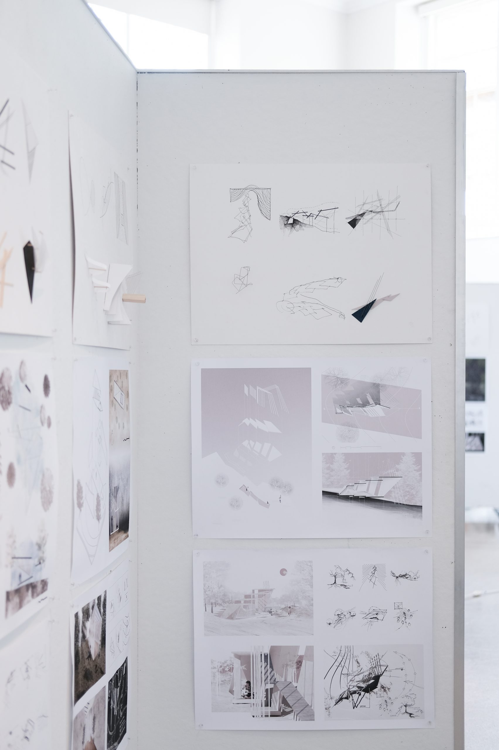closeup view of final presentation boards in Temple Buell Architecture Gallery