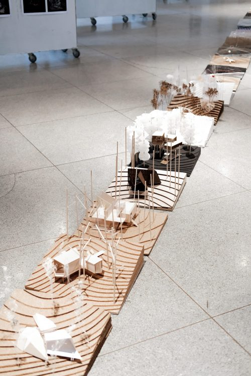 closeup view of final models in Temple Buell Architecture Gallery