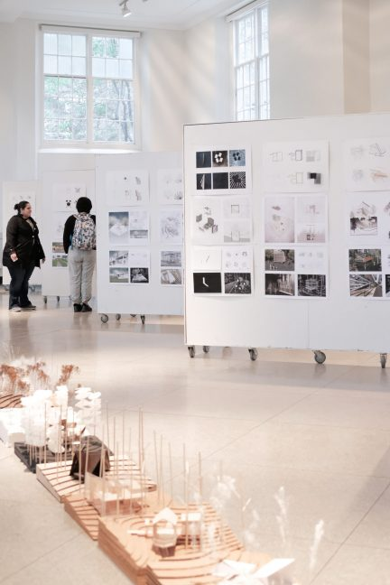 view of final presentation boards and models in Temple Buell Architecture Gallery