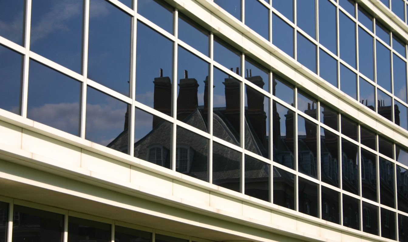 Closeup of temple buell hall glass facade