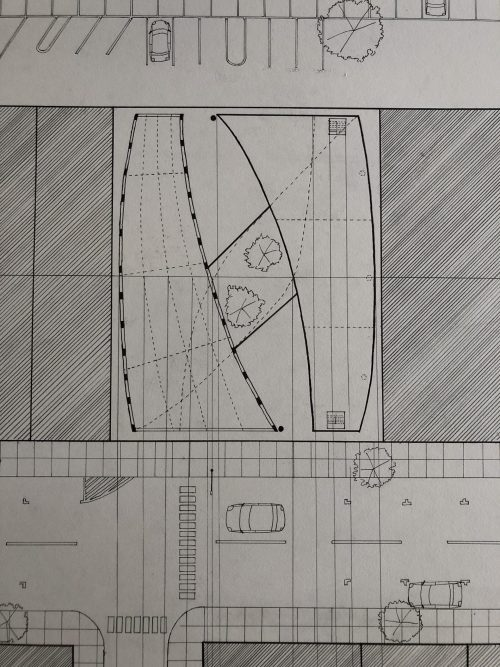 Plan drawing of design with split curved roof