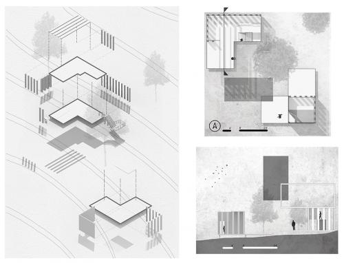 axonometric, plan, and section drawings in black and white
