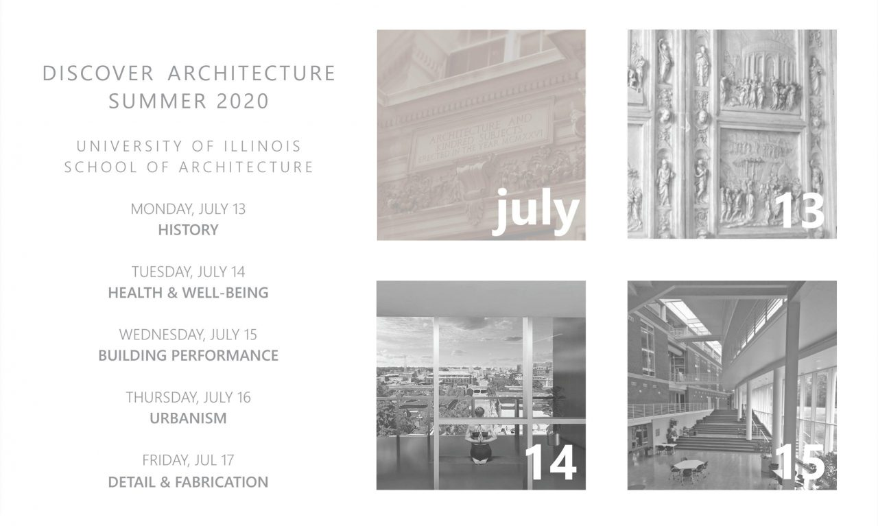 July 2020 Discover Architecture program and schedule