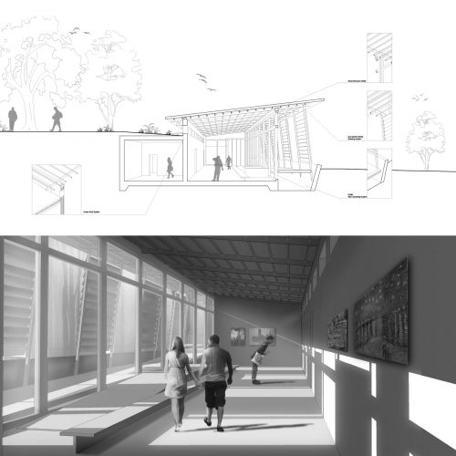 Section perspective and interior rendering