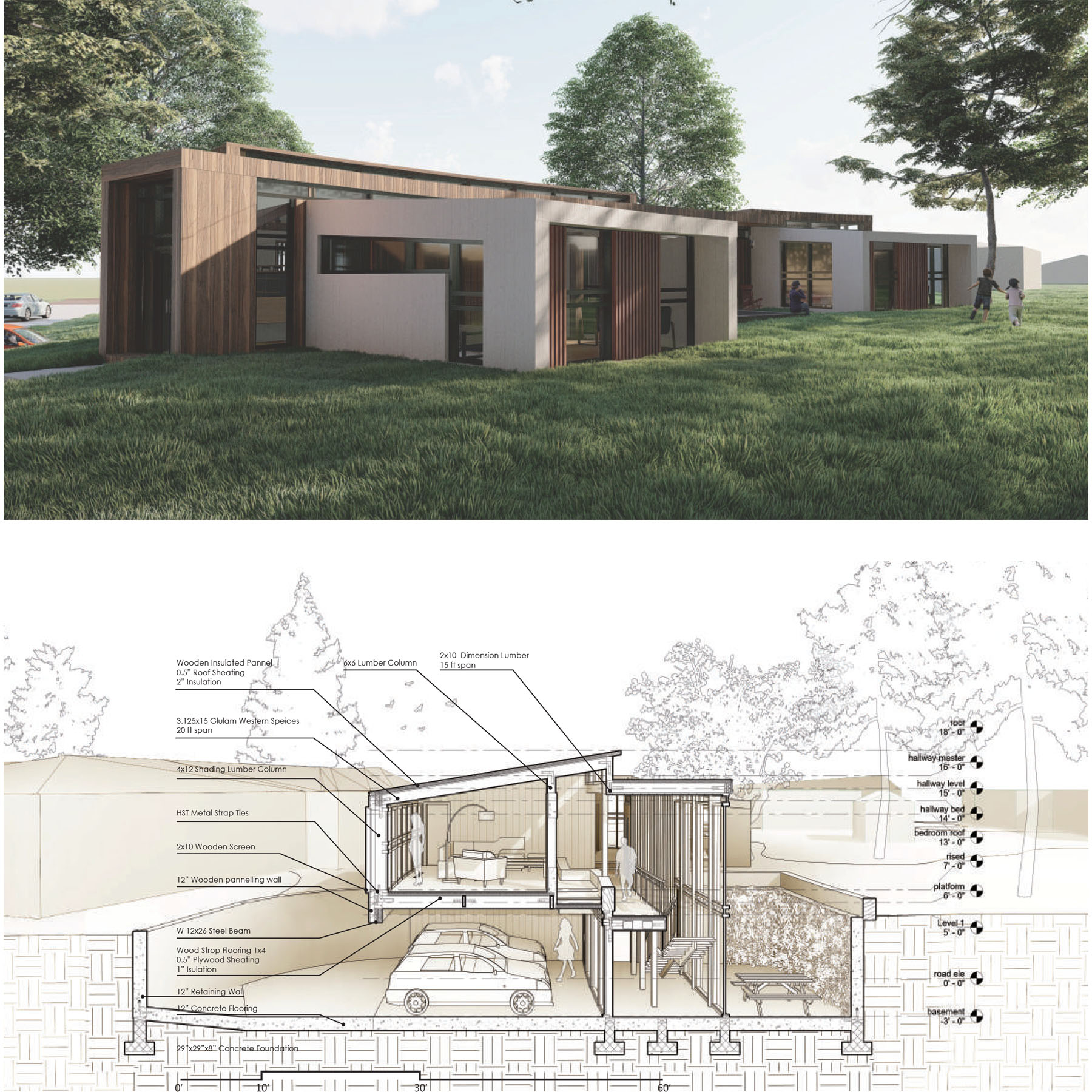 Rendering and section perspective of residential design proposal