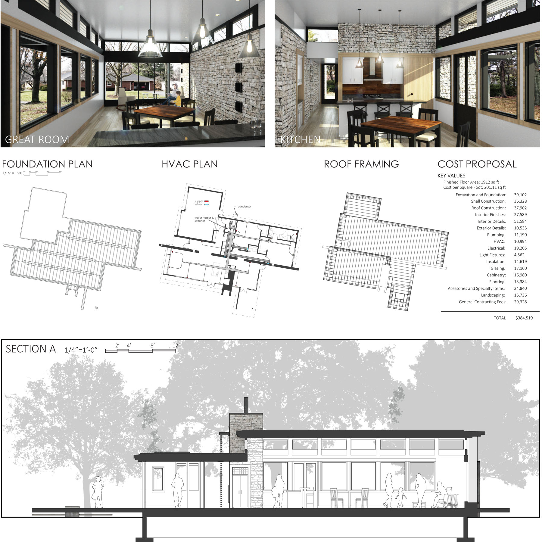Interior renderings with stone walls, plans, and cross section of house