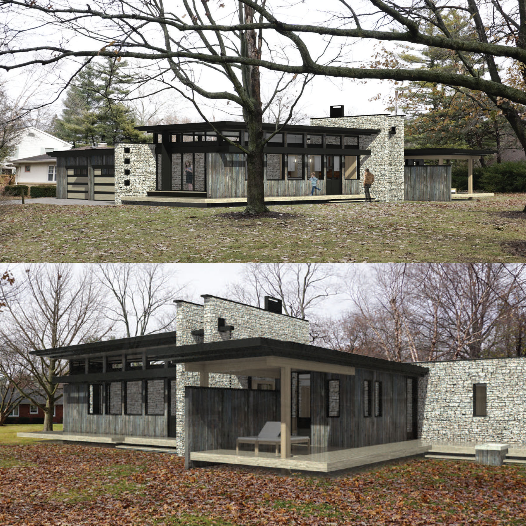 Exterior renderings of house made of stone and glass