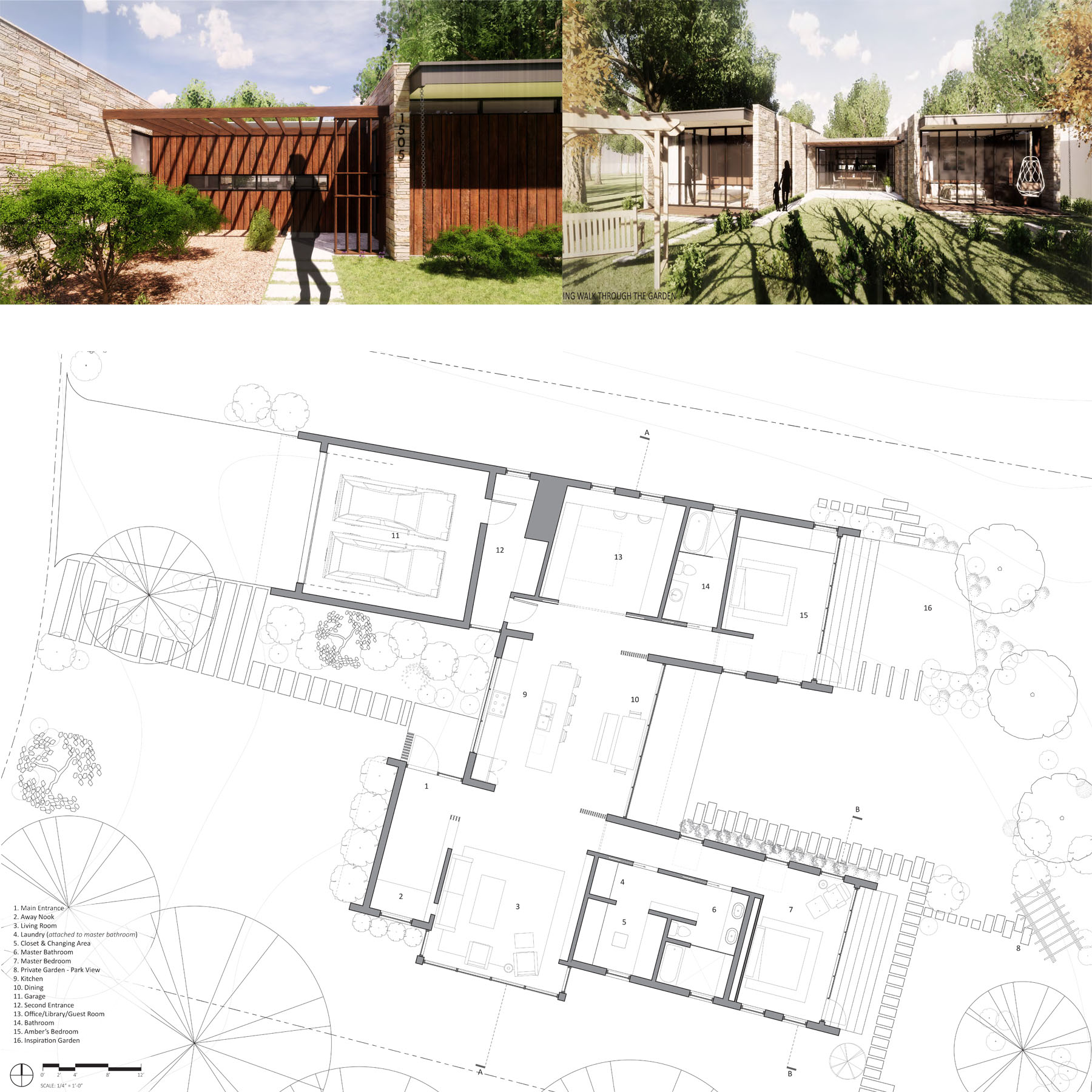 Exterior rendering and floor plan of house