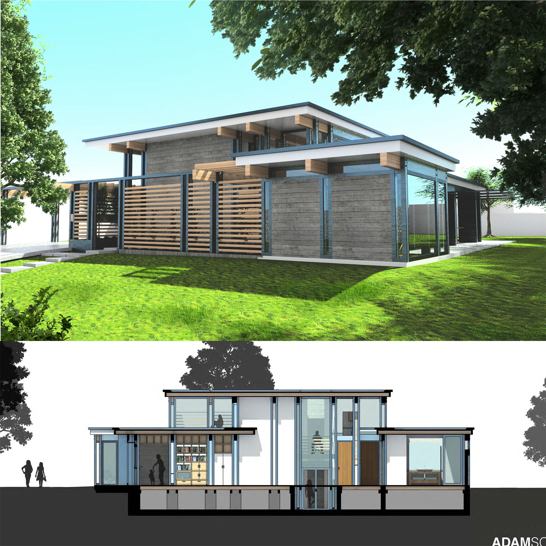 Rendering and section of house design