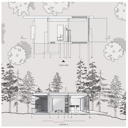 building plan and section perspective