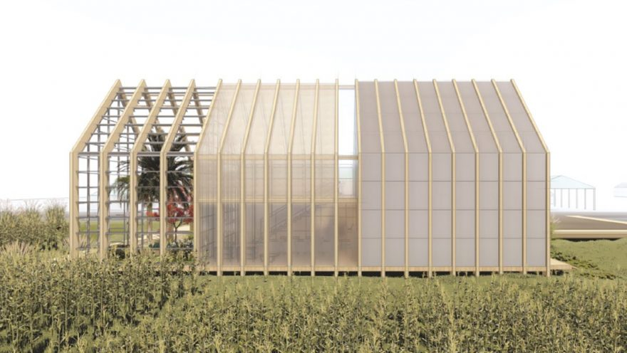 Outside rendering of barn shaped house with farm plots in front